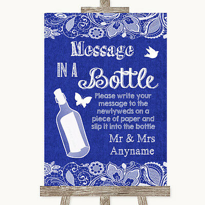 Navy Blue Burlap & Lace Message In A Bottle Personalised Wedding Sign