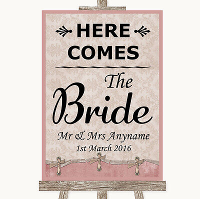 Pink Shabby Chic Here Comes Bride Aisle Sign Personalised Wedding Sign