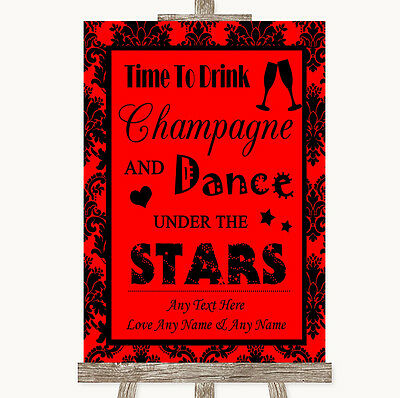 Red Damask Drink Champagne Dance Stars Personalised Wedding Sign