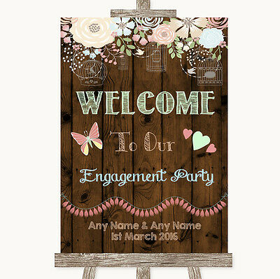 Purple Rustic Wood Welcome To Our Engagement Party Personalised Wedding Sign