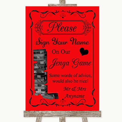 Red Jenga Guest Book Personalised Wedding Sign