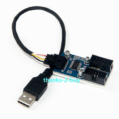 USB 2.0 Male 1 to 2 Port 9Pin USB Header Female Extension Cable Multiplier HUB