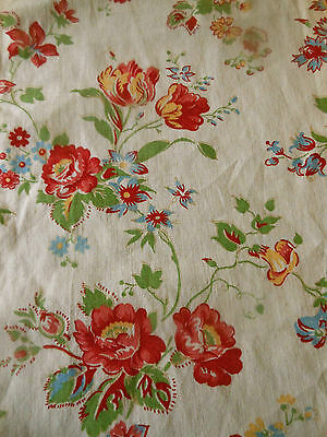 Vintage Retro French Floral Roses Cotton Fabric ~Red Green Yellow Vanilla Cream