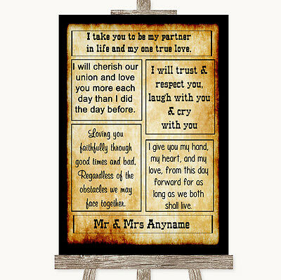 Western Romantic Vows Personalised Wedding Sign