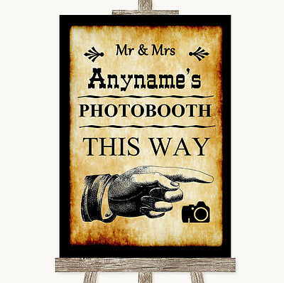 Western Photobooth This Way Right Personalised Wedding Sign