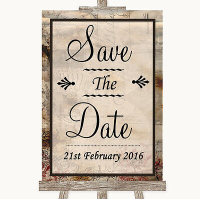 Vintage Save The Date Personalised Wedding Sign