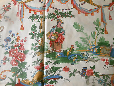 Vintage French Country Pastoral Toile Cotton Fabric ~  Pink Green Blue Yellow
