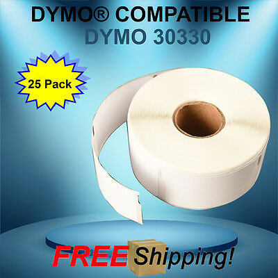 Dymo® CoStar® Compatible 30330 25 Rolls White Rectangular Shaped Labels BPA Free