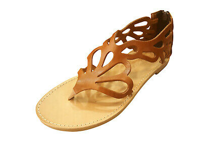 Ancient Greek Womens Sandals Gladiator Roman Handmade Genuine Leather Shoes Flat