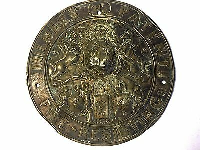 Antique Milners 212 Patent Fire Resisting Pressed Brass Safe Name Plate/plaque