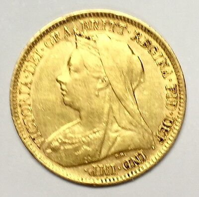 1900 HALF GOLD SOVEREIGN Victoria Veiled Head  St George London Mint