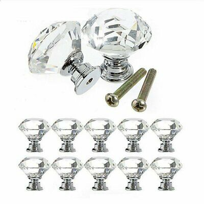 4PCS Clear Crystal Glass Door Knobs Drawer Cabinet Furniture Handle DIY 20~40mm