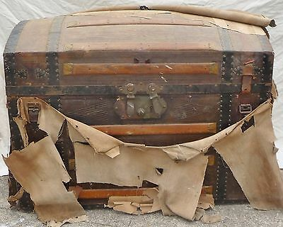 Antique Steamer Trunk Dome Top Victorian Wardrobe Chest Wood Brass Double Lock