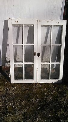 "VINTAGE HOOSIER GLASS DOORS 1 PAIR  42""  tall"