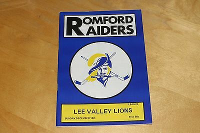 Romford Raiders vs Lee Valley Lions - Ice Hockey Programme - 18th Dec 1988