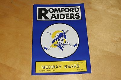Romford Raiders vs Medway Bears - Ice Hockey Programme - 12th March 1989