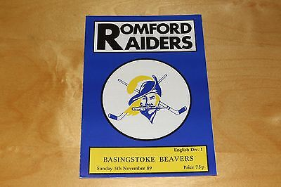 Romford Raiders vs Basingstoke Beavers - Ice Hockey Programme - 5th Nov 1989