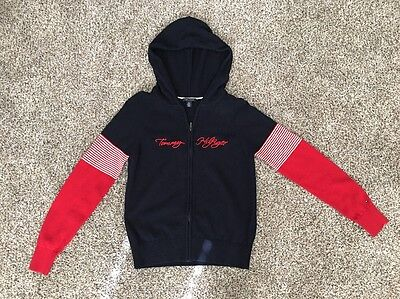 Tommy Hilfiger Youth Boy's Sweater Zip Cardigan Hooded Spellout Size M