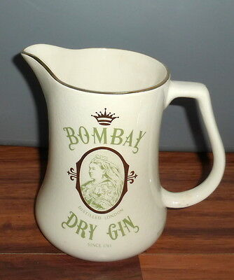 Vintage Bombay Dry Gin Gold Trimmed Pitcher By Duncan Fox Co Made In England