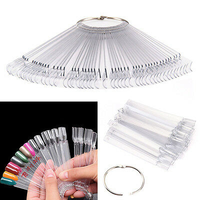 50 Nail Art Tips Colour Pop Sticks Display Fan Clear False Practice starter kits