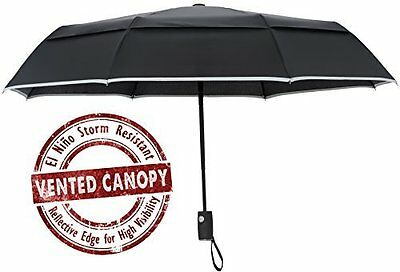 Arcadia Outdoors Vented Windproof Travel Umbrella with Reflective Edge - Black