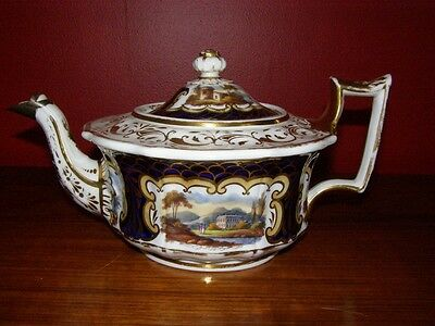 Antique Unmarked English Hand Painted Teapot Ca. 1820s - Gold & Cobalt Blue