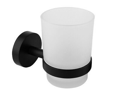 Job Lot of 10 x Bathroom Tumbler Holder Frosted Glass Wall Mounted Black Croydex