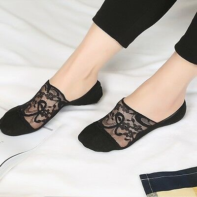 Women's Summer Antiskid Invisible Liner Cotton Lace Flower Low Cut Ankle Socks