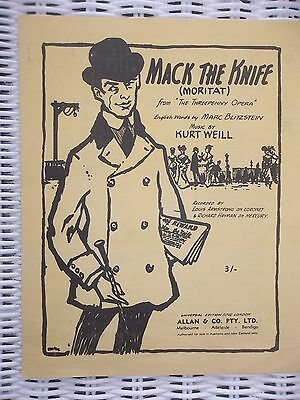 mack the knife vintage sheet music kurt weill