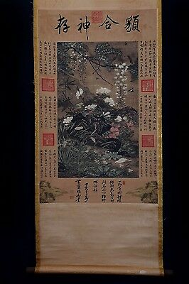 Special Chinese Handwork Calligraphy Landscape Old Scroll Painting Mark PP585