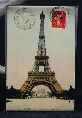 "The Eiffel Tower Vintage Postcard 2"" X 3"" Fridge / Locker Magnet. Paris France"