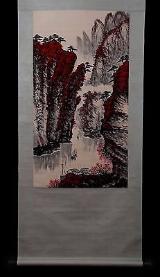 Great Long Rare Chinese Scroll Hand Painting Landscape Collection Marks PP926