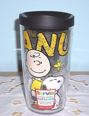 NEW ~ TERVIS SNOOPY CHARLIE BROWN WOODSTOCK 16 oz TRAVEL COFFEE MUG CUP HOT COLD