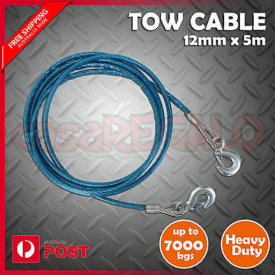 Car Tow Cable Heavy Duty Towing Pull Rope Strap Hooks 12mm X 5m