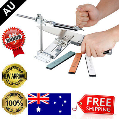 Fix-Angle Knife Sharpener Professional Kitchen Sharpening System W/ 4 Whetstone