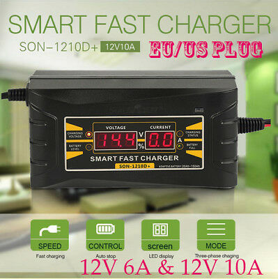 12V 6A/10A Smart Fast Lead-acid Battery Charger Car Motorcycle LCD Display EU/US
