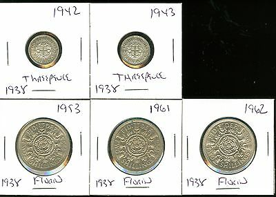 Great Britain - 1942-1943 Silver Threepence - 1945 Threepence - Unc - 1953-1961-