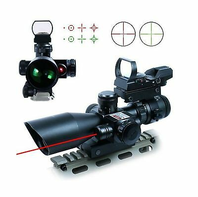 UUQ 2.5-10x40 Tactical Rifle Scope Dual Illuminated Mil-dot W/ Red Laser ... New