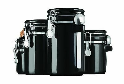 Anchor Hocking 4-Piece Round Clamp Ceramic Canister Set with Stainless St... New