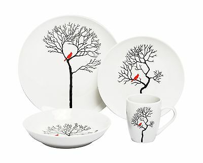 Melange 16 Piece Bird In Forest Coupe Porcelain Place Setting Serving for... New
