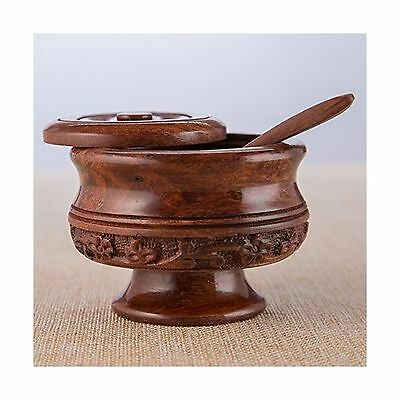 Rusticity Wooden Sugar Bowl with Lid and Spoon | Handmade | (4x4in) New