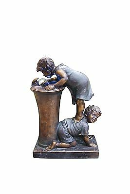 Alpine Boy and Girl Drinking Water Fountain with Led Light New