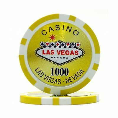 Trademark Poker Clay Laser Las Vegas 100 Poker Chips (1000-Piece) 15gm New