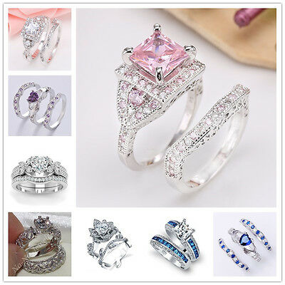 Hot Sale Women Fashion 925 Sterling Silver Gemstone Ring Set Wedding Jewelry New