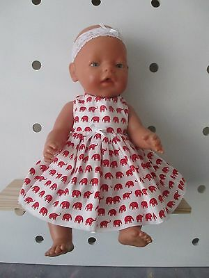DRESS & HEADBAND suitable Baby Born - Cabbage Patch Doll  Red Elephants