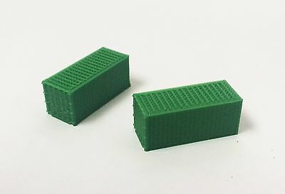 Outland Models Train Railway Accessories 20ft Freight Container Green x2 Z Scale