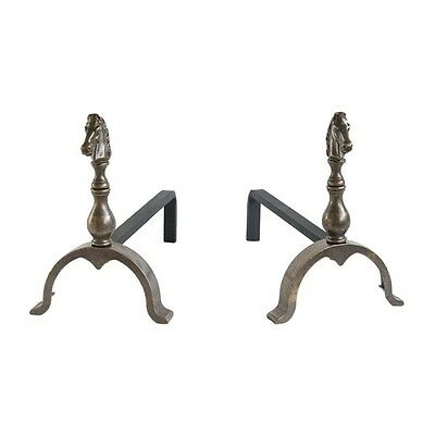 Andirons for fireplace brass burnished with head of horse Large