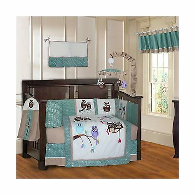 BabyFad Owl Turquoise 10 Piece Baby Crib Bedding Set New