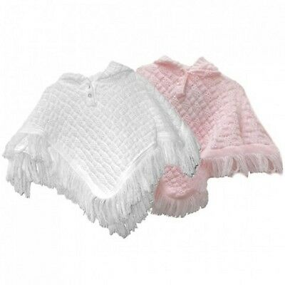 Knitted Baby Girl Hooded Poncho Shawl Cardigan Wrap - Babytown Nb-24Mth