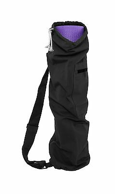ProSource Yoga Mat Bag with Side Pocket and Cinch Top 71 cm Black New